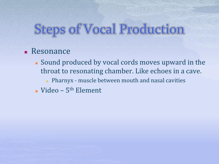 Steps of Vocal Production
