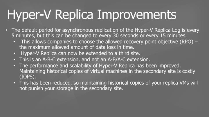 The default period for asynchronous replication of the Hyper-V Replica Log is every 5 minutes, but this can be changed to every 30 seconds or every 15 minutes