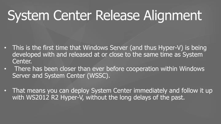 System Center Release