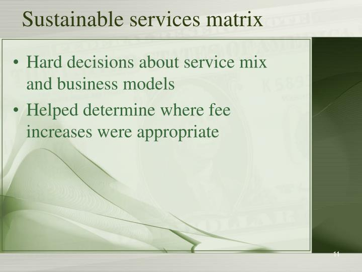 Sustainable services matrix
