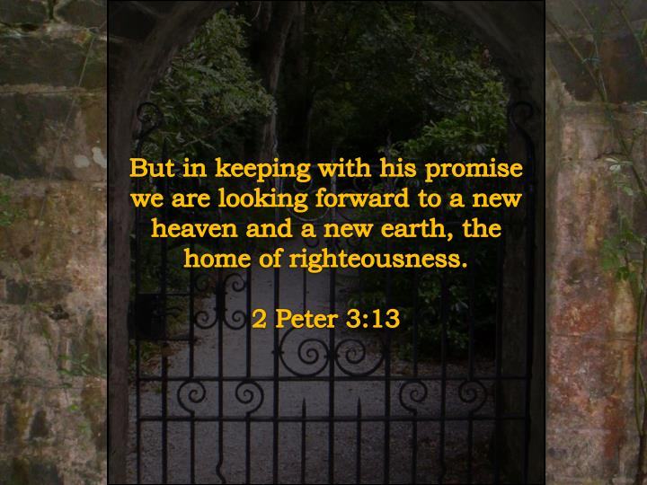 But in keeping with his promise we are looking forward to a new heaven and a new earth, the home of righteousness.