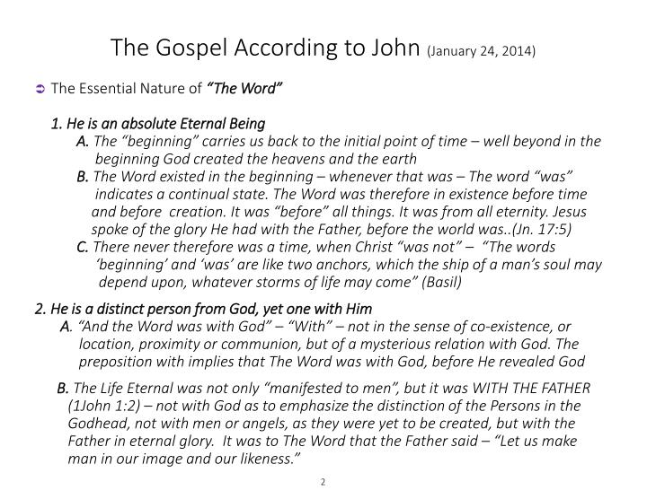 The gospel according to john january 24 20141