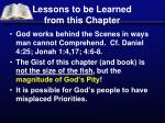 lessons to be learned from this chapter