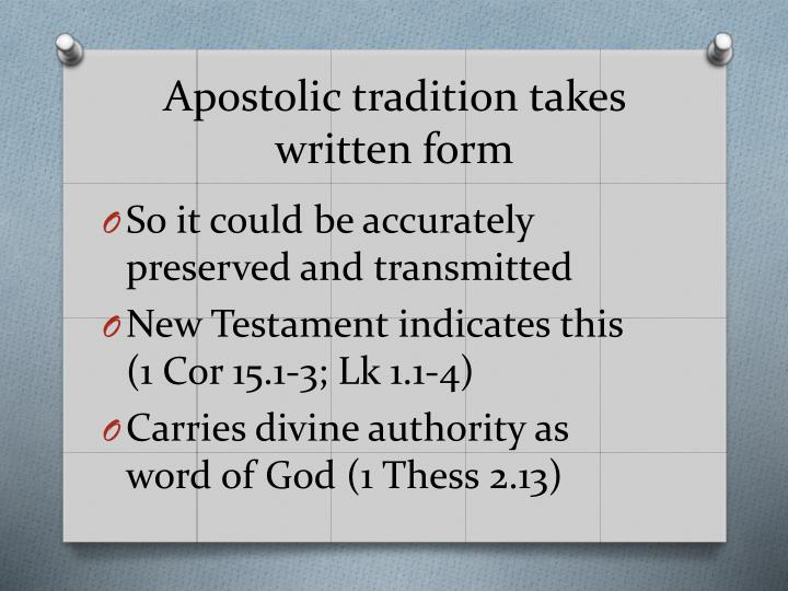 Apostolic tradition takes written form
