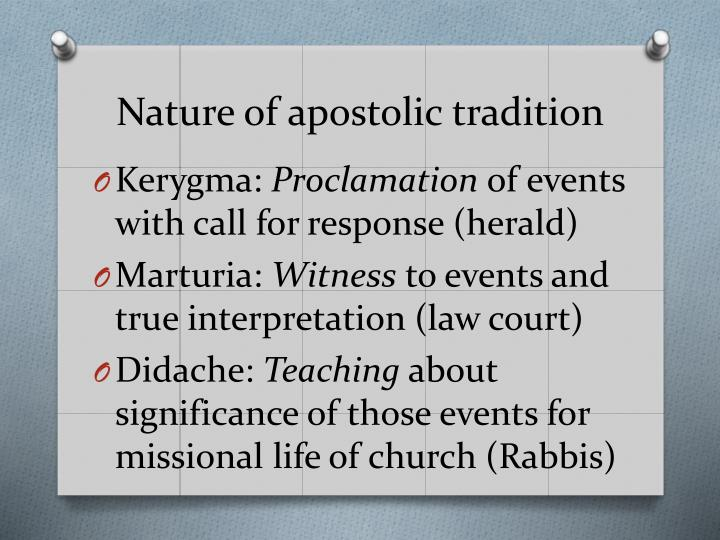Nature of apostolic tradition