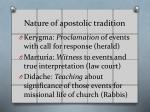nature of apostolic tradition
