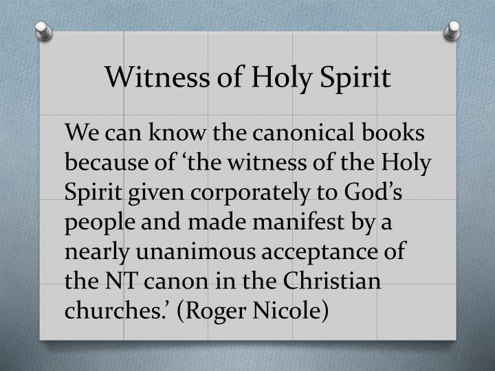 Witness of Holy Spirit