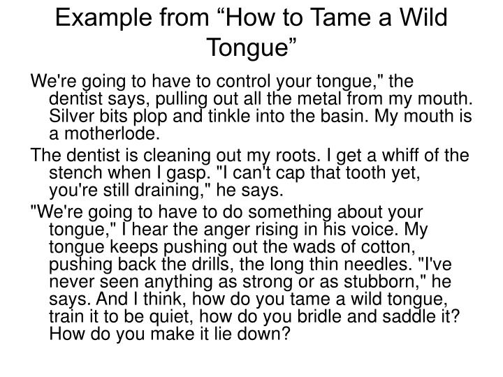 "Example from ""How to Tame a Wild Tongue"""