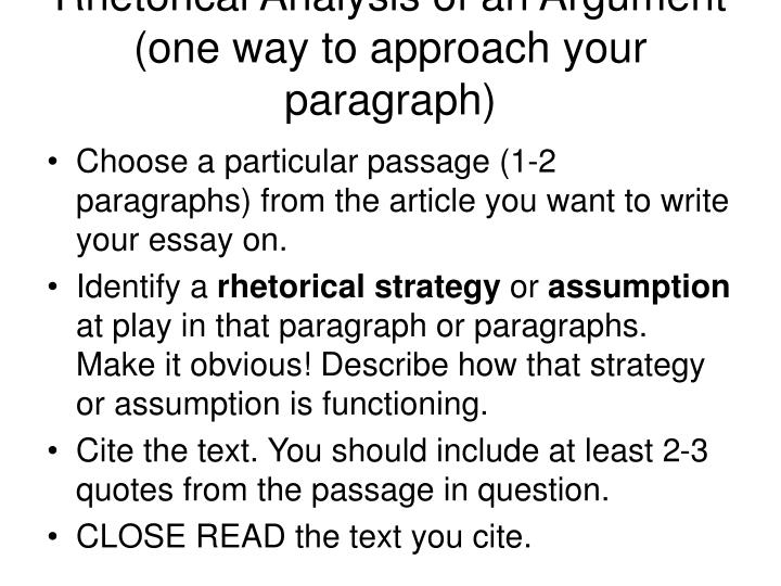 Rhetorical Analysis of an Argument