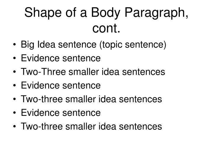 Shape of a body paragraph cont