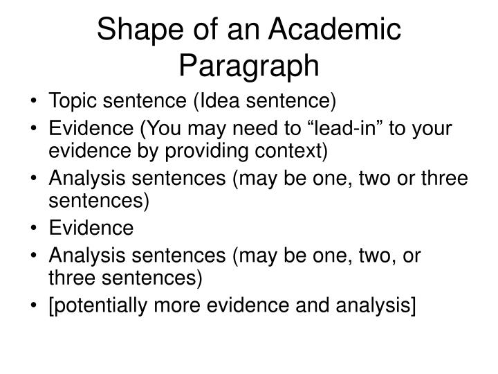 Shape of an academic paragraph