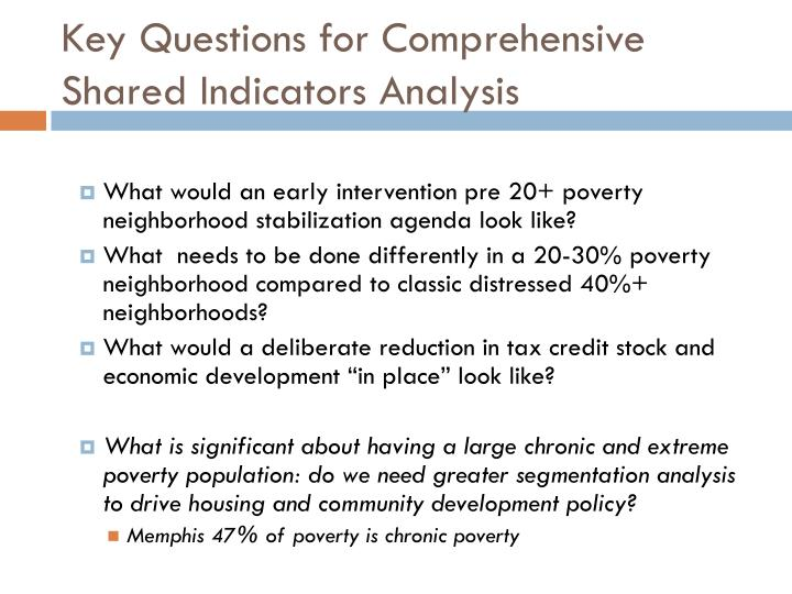 Key Questions for Comprehensive Shared Indicators Analysis