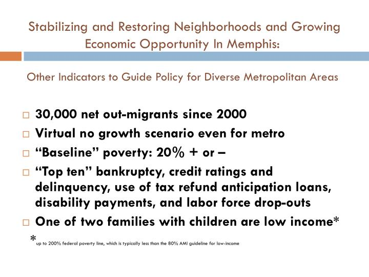 Stabilizing and Restoring Neighborhoods and Growing Economic Opportunity In Memphis: