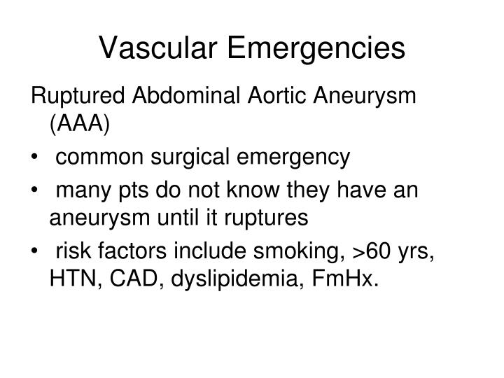 Vascular Emergencies