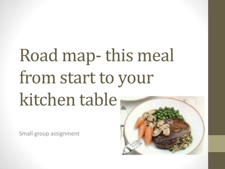 Road map- this meal from start to your kitchen table