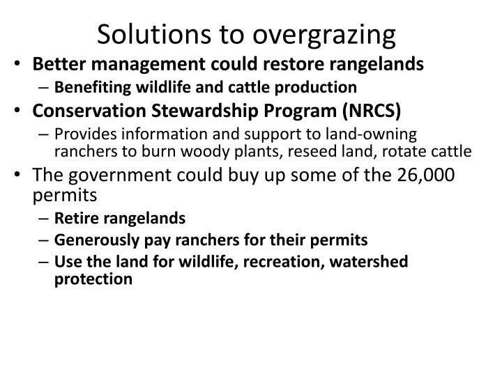 Solutions to overgrazing