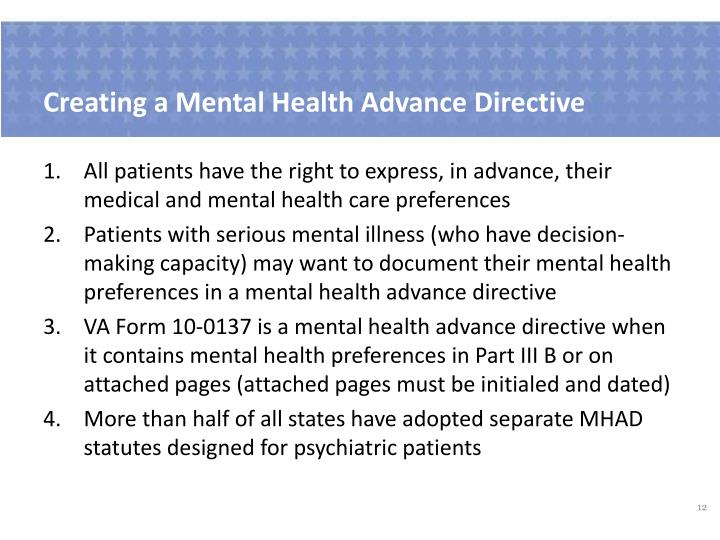Creating a Mental Health Advance Directive