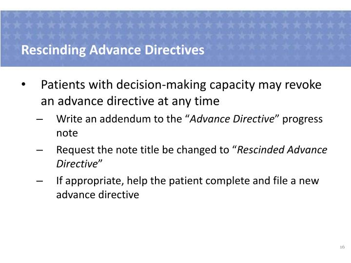 Rescinding Advance Directives