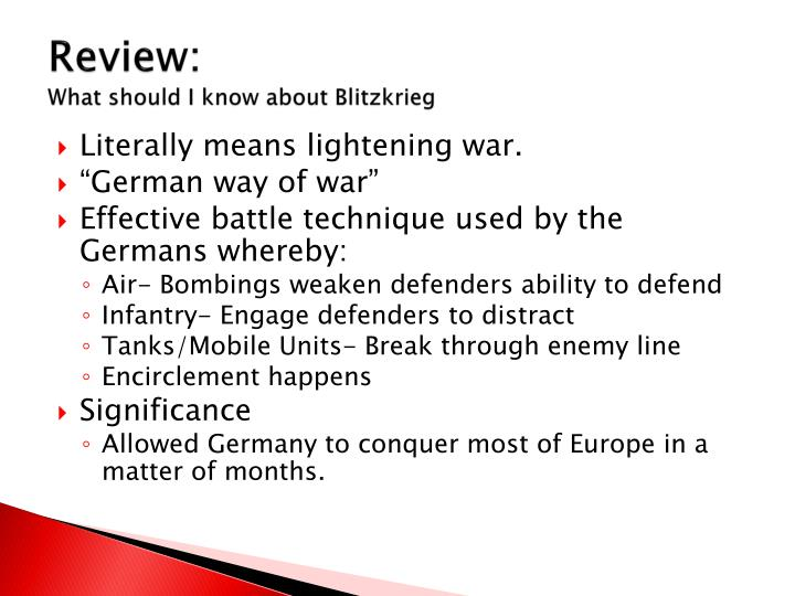 Review what should i know about blitzkrieg
