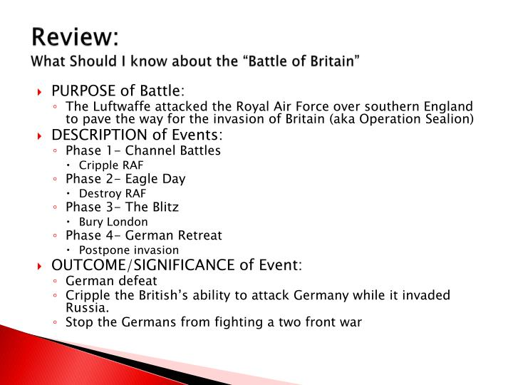 Review what should i know about the battle of britain