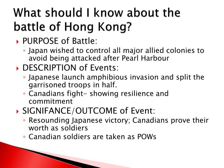 What should I know about the battle of Hong Kong?