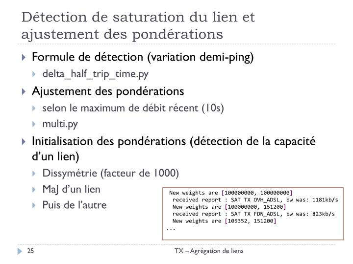 Détection de saturation du lien et ajustement des pondérations