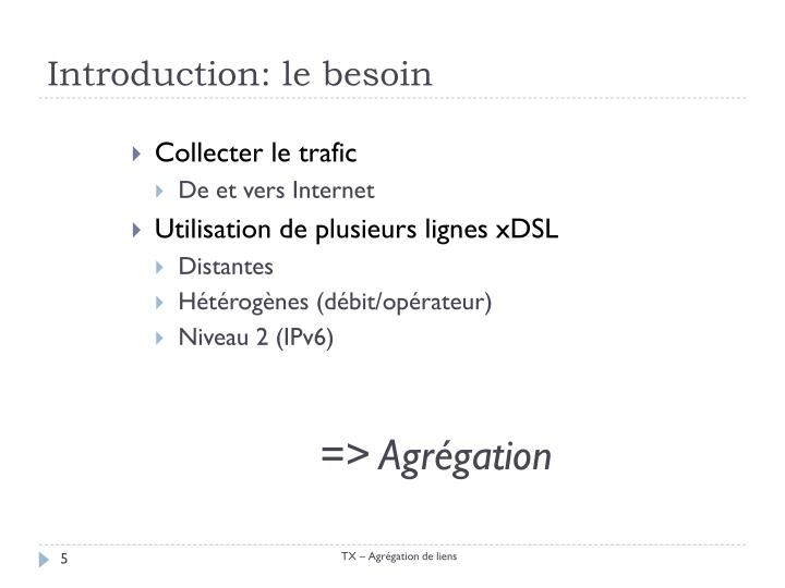 Introduction: le besoin
