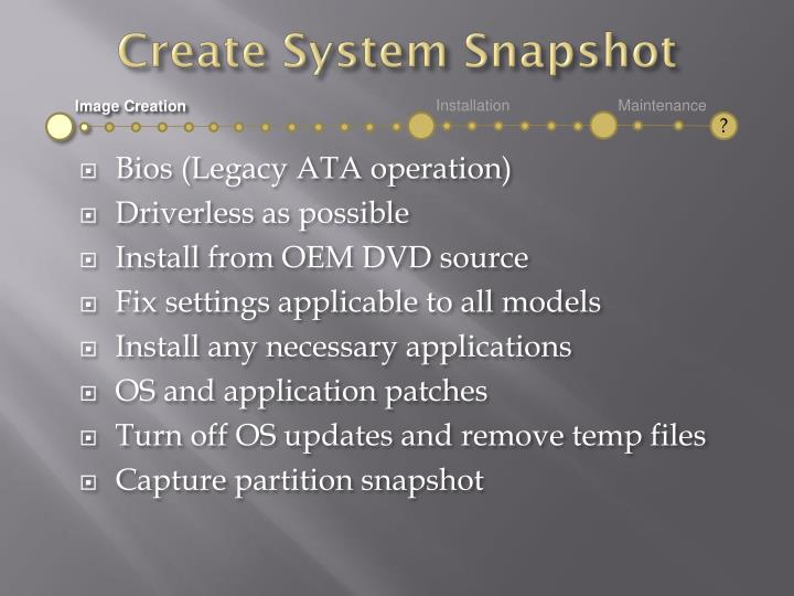 Create System Snapshot