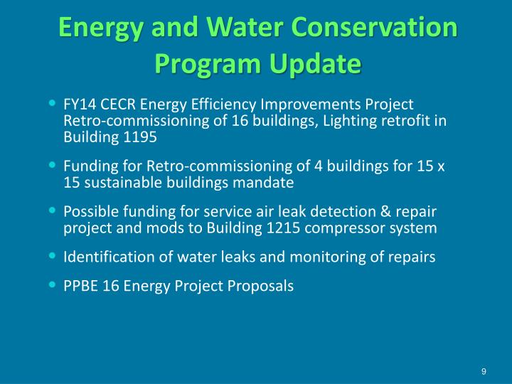 Energy and Water Conservation Program Update