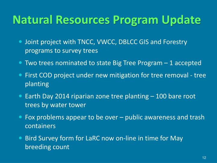 Natural Resources Program Update
