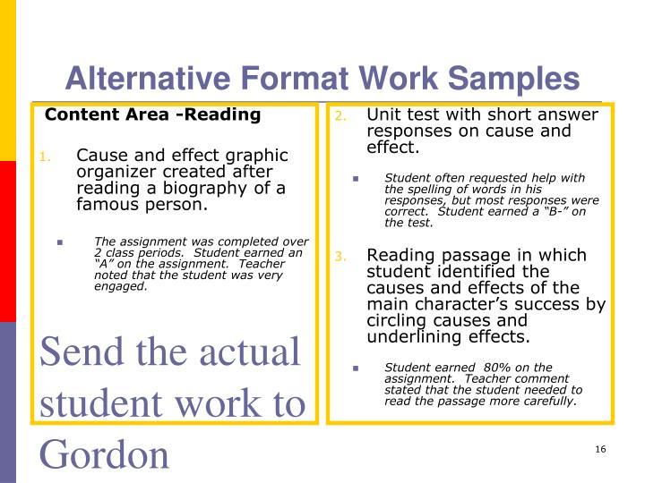 Alternative Format Work Samples