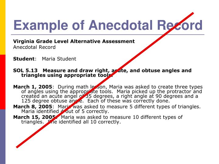 Example of Anecdotal Record