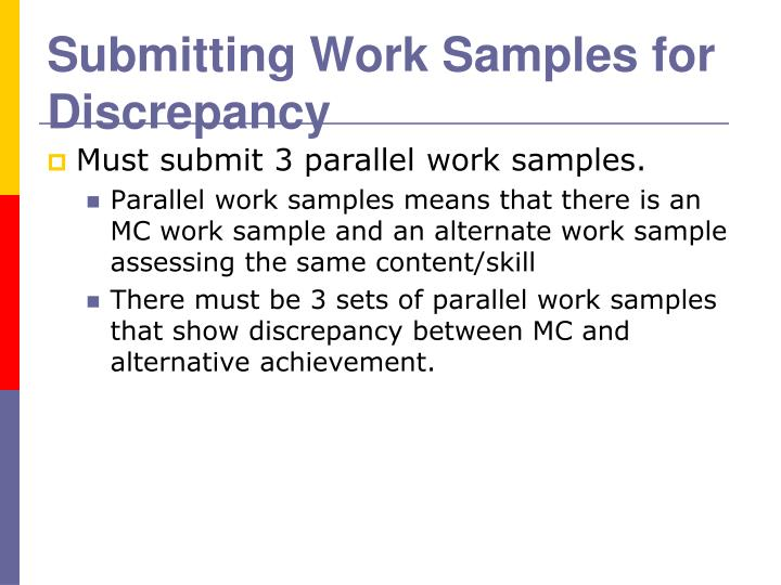 Submitting Work Samples for Discrepancy