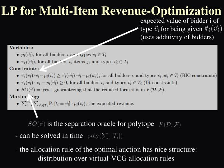 LP for Multi-Item Revenue-Optimization