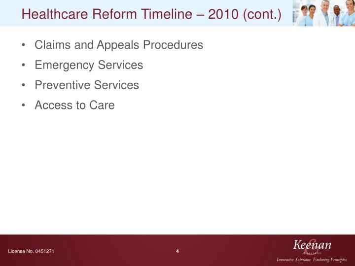 Healthcare Reform Timeline – 2010 (cont.)
