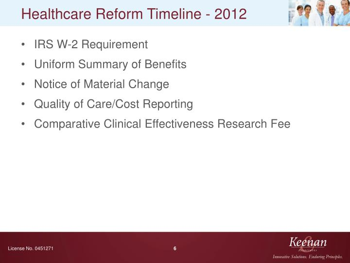 Healthcare Reform Timeline - 2012
