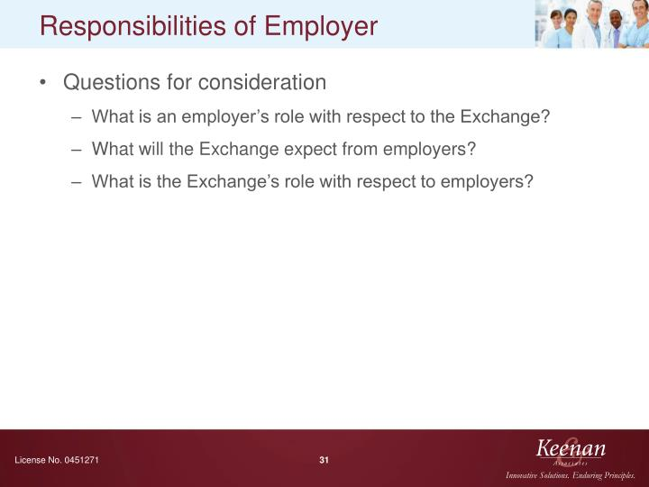 Responsibilities of Employer