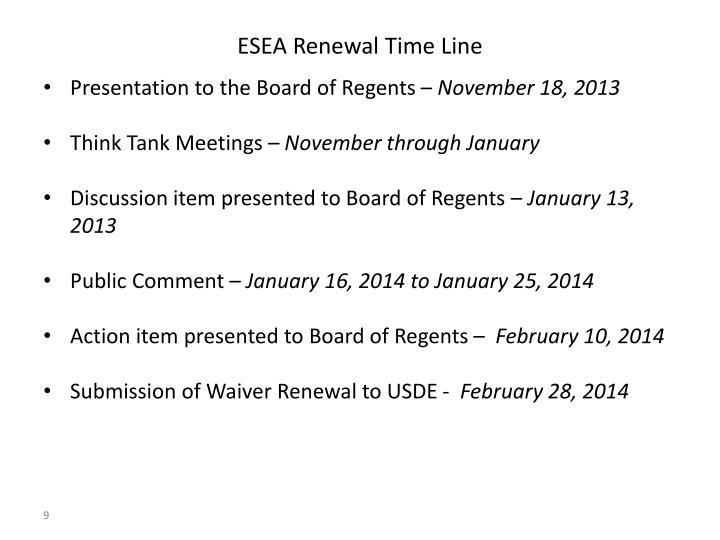 ESEA Renewal Time Line
