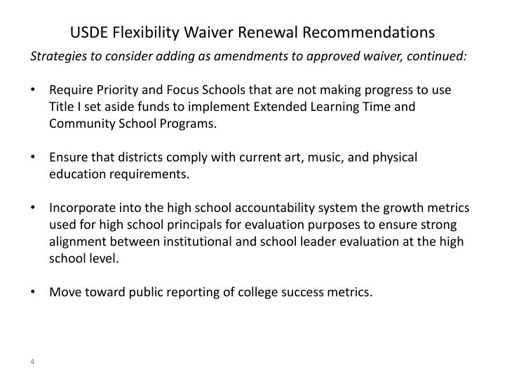 USDE Flexibility Waiver Renewal Recommendations