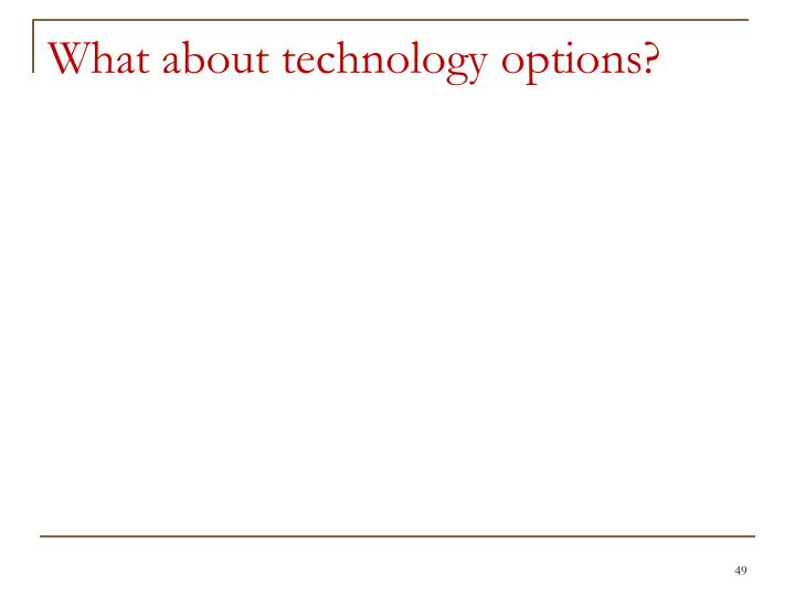 What about technology options?