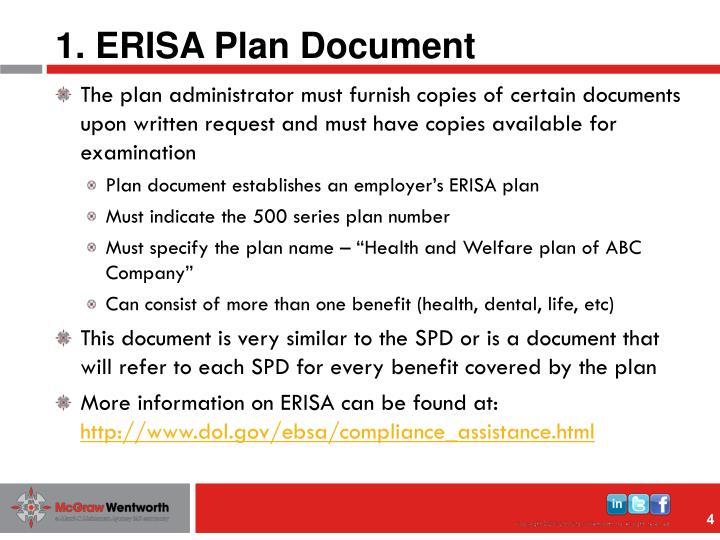 1. ERISA Plan Document