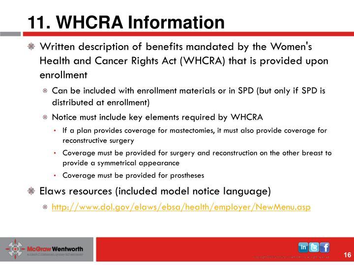 11. WHCRA Information