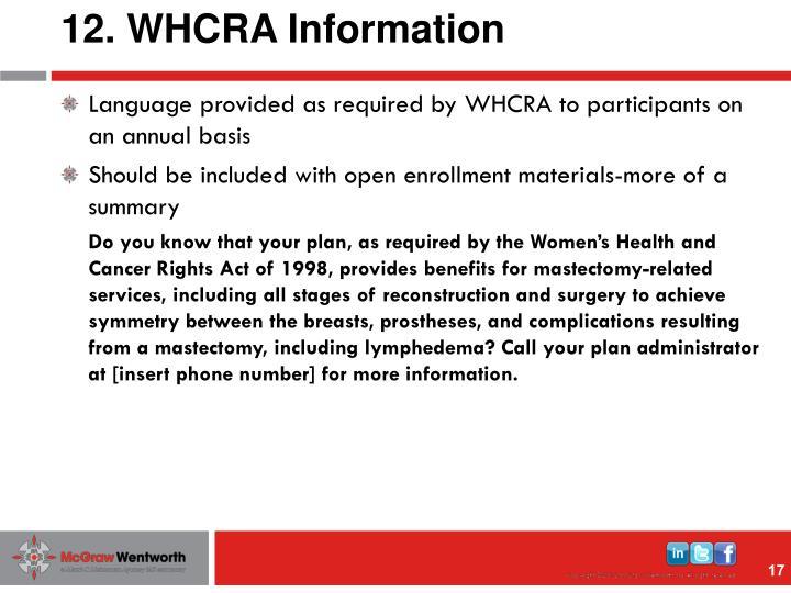 12. WHCRA Information