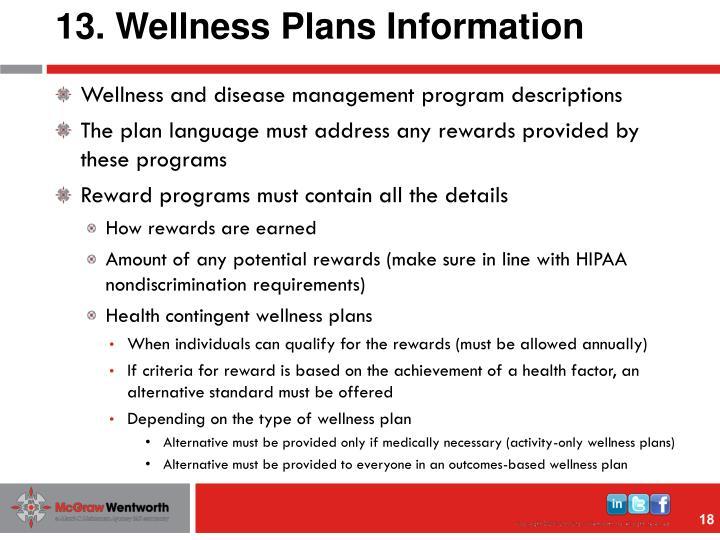 13. Wellness Plans Information