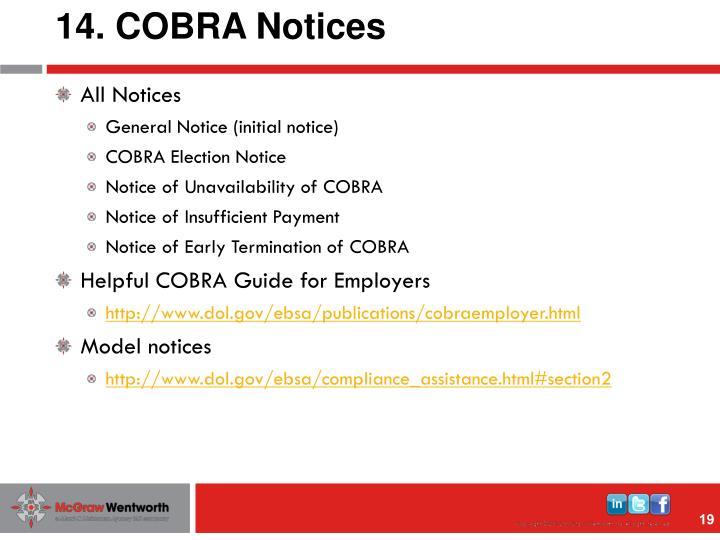 14. COBRA Notices