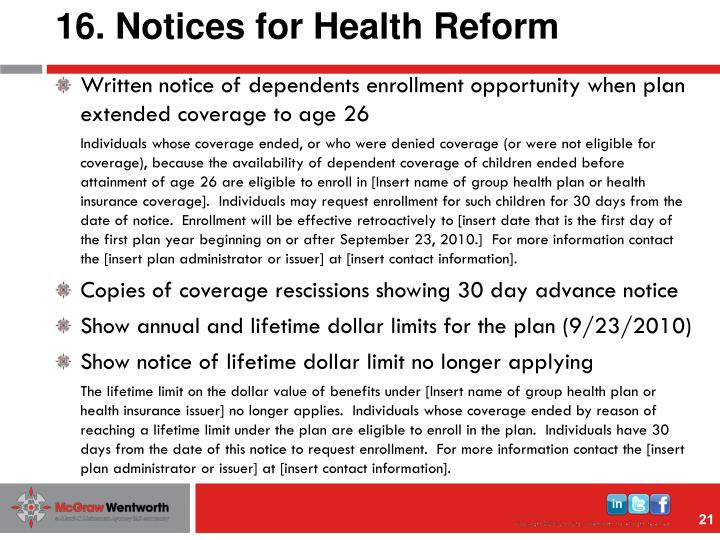 16. Notices for Health Reform