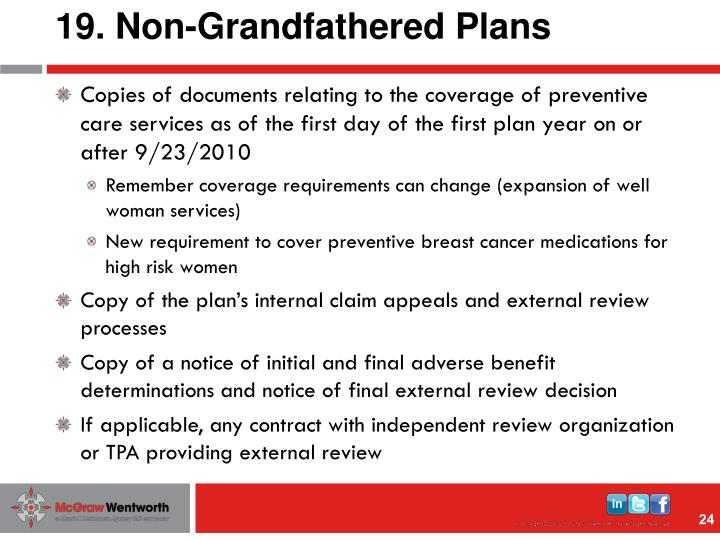 19. Non-Grandfathered Plans