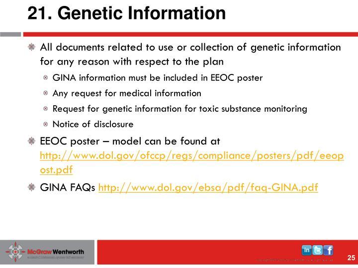21. Genetic Information