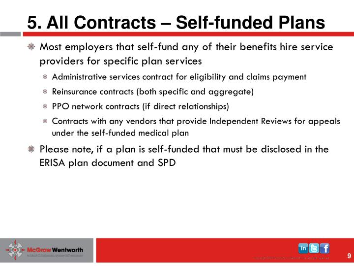 5. All Contracts – Self-funded Plans