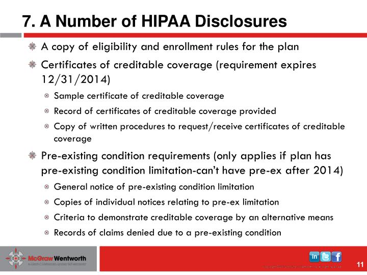 7. A Number of HIPAA Disclosures